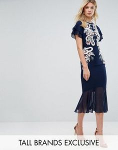 Frock And Frill Tall Embroidered Midi Dress With Chiffon Hem Detail