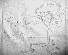 Arte * Vida: Risco de paisagem,com Lua,Lago e Barcos.