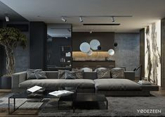 A Dark and Calming Bachelor Pad with Natural Wood and Concrete
