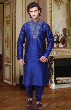 Glamorous Blue Embroidred Kurta Pyjama Set