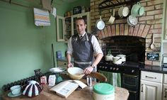 Wartime rations: Ben Ransum cooking in his detail-perfect Forties kitchen, man who loves living in 1940's