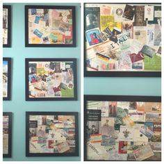 Pinterest win! I collect ticket stubs, maps, brochures and etc. from trips and vacations. I made collages out of them and now I can see the memories on our wall. Framed tickets Ticket collage Vacation memories Vacation collage