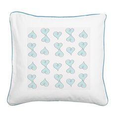 Doodle Hearts -Blue Square Canvas Pillow