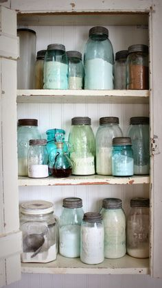 Wall Cupboard with Vintage Mason Jars - Love this collection!