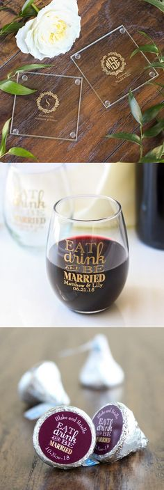 Thank your wedding guests with a unique wedding favor! Find everything from personalized stemless wine glasses to personalized Hershey's kisses!