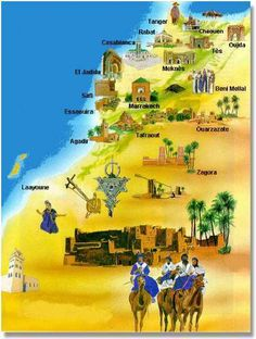 Morocco map travel poster, Khouribga Plus