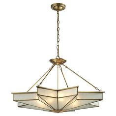 Featuring star-shaped frosted glass and a solid brushed-brass frame, this elegant 8-light pendant brings a timeless Art Deco flair to your foyer or living ro...