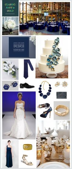 Navy & Gold Inspiration #wedding  Maybe a hue of yellow instead of gold...