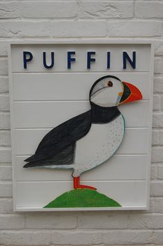 Painted Puffin in clapboard box frame. www.fish-and-ships.com. I love Puffins! They migrate to where I live every summer