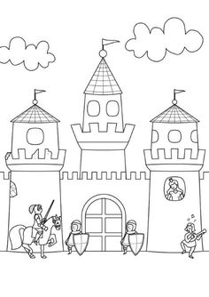 Coloring page Knight: Print Castle for coloring for free - Coloring Pages Castle Coloring Page, Colouring Pages, Coloring Pages For Kids, Coloring Sheets, Adult Coloring, Coloring Books, Chateau Moyen Age, Diy For Kids, Crafts For Kids