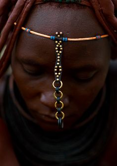 Africa | Detail from a Himba woman's ornaments.  Epupa, Namibia. | ©Eric Lafforgue