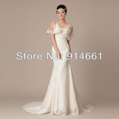 Mermaid Sheer Butterfly Sleeves V-neck Princess Waist Layered Court Lace Wedding Dresses w/ Crystals $197.00
