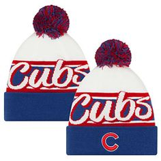 0dada1dcfcb Look sharp this winter with this Chicago Cubs Top Script Knit Hat from New  Era! This hat is all white with a royal blue cuff and features the official  Cubs ...
