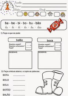 """Atividades para 1º Ano - Letra B ("""" Meus Trabalhos Pedagógicos """")"""