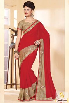 Create a great canvas by attiring this beautiful red and cream chiffon party saree with discount offer. It is finely adorned with zari border and nice little patch.  #saree, #sarees, #partywearsaree, #designersaree, #onlinesaree, #partysaree, #festivalsaree, #occasionsaree, #womenfashionsaree, #embroiderysaree, #pavitraa, #pavitraafashion http://www.pavitraa.in/store/party-wear-saree/ Call Us : 917698234040