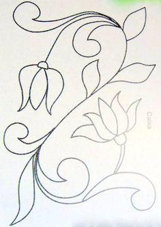 ARTEMELZA - Arte e Artesanato: Riscos para pintura bauernmalerei Hand Embroidery Design Patterns, Applique Patterns, Applique Designs, Quilting Stencils, Quilting Templates, Quilting Designs, Jacobean Embroidery, Embroidery Needles, Embroidery Kits