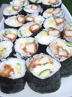 Tonkatsu Sushi with Egg and Cucumber