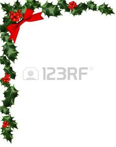 Holly Border With Berries Copy Space Stock Photo