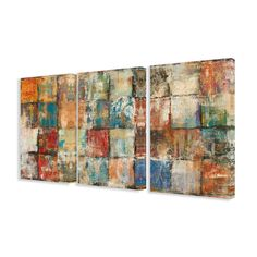 Family tree abstract multi-color 3-piece canvas art set triptych is . Each is original artwork on high-quality canvas print mounted on sturdy 1.5-inch thick pine wood. Hand-cut and finishedThis art work is ready to hang.