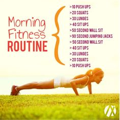 Morning fitness routine to say goodbye to the week and welcome the weekend! You dont need a gym to do any of these, so no excuses! Even a short workout on the days you are tired or busy will accelerate your metabolism and help you burn more calories. This routine targets arms, legs, and core. By increasing blood-flow, workouts are a great way to un-bloat. It might just be inflammation and water-retention, both of which are aided by exercise. Find more like this at