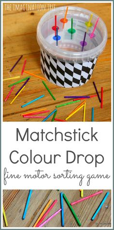 Match stick colour drop fine motor sorting game for preschoolers color activities, learning activities, Motor Skills Activities, Gross Motor Skills, Color Activities, Infant Activities, Learning Activities, Fine Motor Activities For Kids, Learning Skills, Physical Activities, Preschool Colors