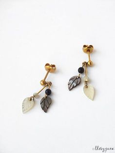 Mother of pearl leaf dangle and drop earrings Leaf charm