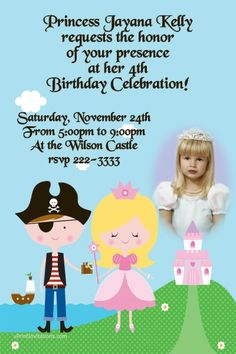 Pirate Princess Party Birthday Invitations CHOOSE YOUR HAIR COLOR  - Get these invitations RIGHT NOW. Design yourself online, download and print IMMEDIATELY! Or choose my printing services. No software download is required. Free to try!