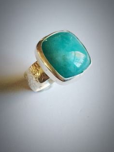 I need more amazonite in my life. Always. - Sterling silver and square amazonite ring by morganmcgeehandesign