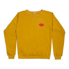 Our extra-soft lightweight Marigold with Red Lips Sweatshirtis perfect for layering. Pre-shrunk 100% Organic Cotton Marigold contrastedwithhand drawn red l