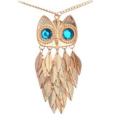 Vintage Leaves Owl Necklace Pendant Women Long Chain Necklaces & Pendants Jewelry For Gift Party