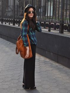 """""""Plaid is such a great way to make a plain outfit more lively. When paired with a maxi skirt and a fedora it works for spring or fall!"""" —Seventeen Style Council Member Ellie wears her Forever 21 plaid button-up with a Macy's Material Girl skirt, TOMs, a fedora, and a Tory Burch bag.   - Seventeen.com"""