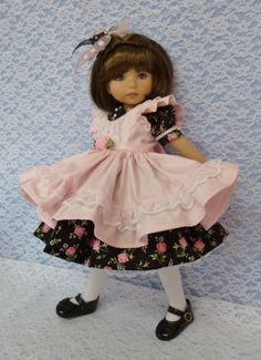 """Pink Roses Outfit for Little Darling Effner Doll 13"""" by Apple"""