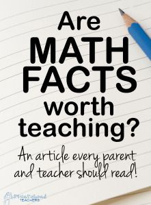 Squarehead Teachers: Interesting article on the value of and best approach to teaching math facts. What do you think? Math Teacher, Math Classroom, Teaching Math, Teaching Ideas, Maths, Teacher Stuff, Teacher Sayings, Creative Teaching, Classroom Ideas