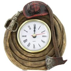 Fire Fighter Clock with Hat & Axe Firefighter Bedroom, Firefighter Home Decor, Firefighter Family, Firefighter Paramedic, Firefighter Gifts, Fire Dept, Fire Department, Fire Truck Room, Game Room Bar