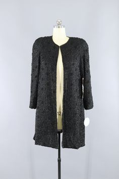 Vintage 1980s Black Sequined Beaded Silk Jacket  #shopvintage #vintage