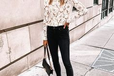 Easy, festive puff sleeve white lace top with black skinny jeans and slingbacks for a more dressed up look. Feminine style for Thanksgiving dinner, Christmas or New Year's Eve.