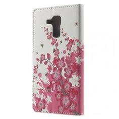 Huawei Honor 7 Lite vaaleanpunaiset kukat puhelinlompakko.