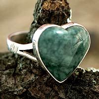 Heart Shaped Sterling Silver Jade Cocktail Ring ~ Love Immemorial from @NOVICA, They help #artisans succeed worldwide.