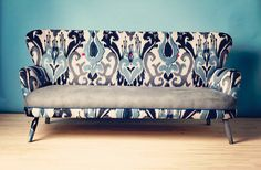IKAT SOFA-love the fabric, love the lines of the couch itself Sofa Design, Furniture Design, Printed Sofa, 2 Seater Sofa, Upholstered Sofa, Take A Seat, Best Sofa, Interior Exterior, Sofa Chair