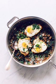 Lentils With Mushrooms, Kale, and Eggs
