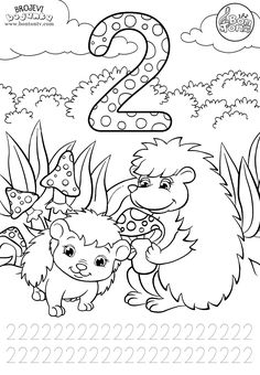 Number 2 - Preschool printables - worksheets coloring pages for kids (Learning n. Number 2 - Preschool printables - worksheets coloring pages for kids (Learning numbers, counting - Broj 2 - Bojanke za djecu - brojevi, radni listovi BonTon TV Preschool Number Worksheets, Fun Math Activities, Numbers Preschool, Learning Numbers, Preschool Printables, Worksheets For Kids, Preschool Activities, Preschool Coloring Pages, Coloring Pages For Kids