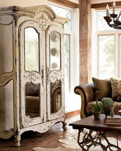 Mirrored armoire, brick floor