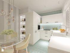 Z nutą turkusu - Średnia otwarta kuchnia w kształcie litery u w aneksie, styl klasyczny - zdjęcie od LIVING BOX