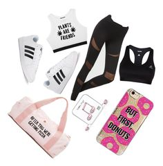 """""""Workout"""" by mali-likes ❤ liked on Polyvore featuring Happy Plugs, Minga, adidas, Agent 18 and ban.do"""