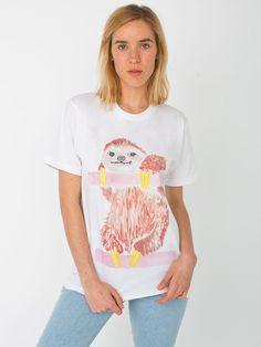【ユニセックスオーガニックファインジャージーショートスリーブTシャツ - ナマケモノ】American Apparel