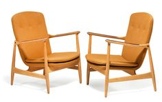Finn Juhl: A pair of beech armchairs, plugs and armrests with Brazilian rosewood inlays. These examples manufactured 1950s by Bovirke. Provenance: Poul Lund, founder and owner of Bovirke.