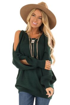 8cd295b5208d2 Hunter Green Long Sleeve Cold Shoulder Knit Sweater front close up Boutique  Tops