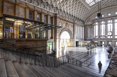 The beautiful central station in Leipzig (Leipzig Hauptbahnhof).