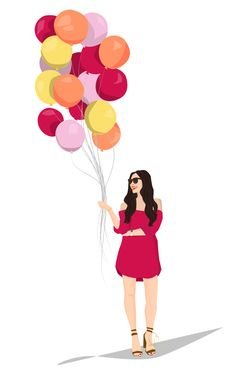 Illustration: Birthday Balloon Girl