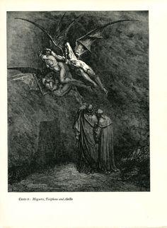 Gustave Dore Print /Bookplate 1948 Dante Virgil Winged Demons Devils Megaera #Realism